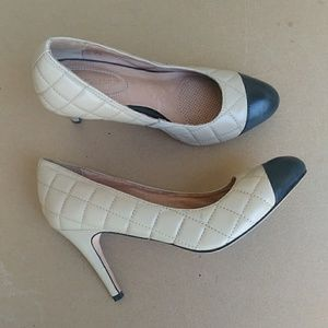 Corso Como Cream Quilted Cap Toes Pumps